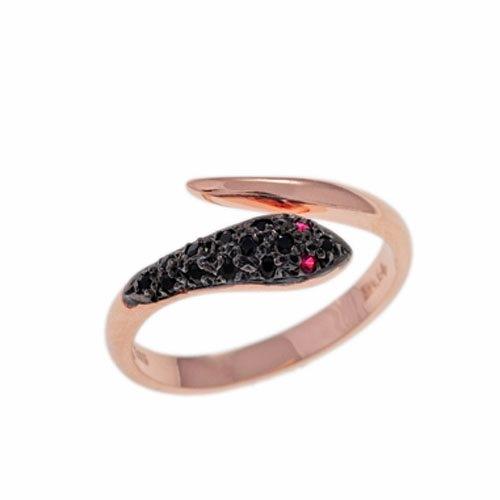 Δαχτυλίδι Φίδι σε Ροζ Χρυσό με Ζιργκόν