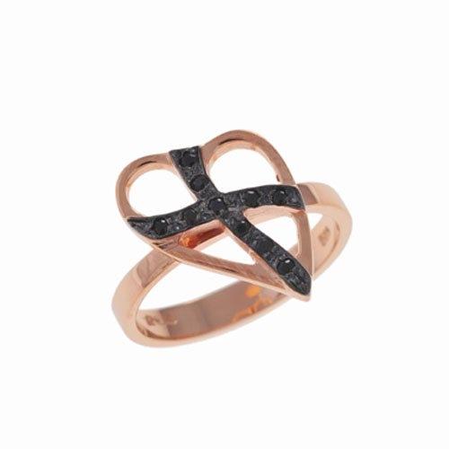 Δαχτυλίδι Καρδιά με Σταυρό σε Ροζ Χρυσό με Ζιργκόν