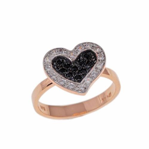 Δαχτυλίδι Καρδιά σε Ροζ Χρυσό με Ζιργκόν