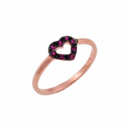 Δαχτυλίδι Καρδούλα σε Ροζ Χρυσό με Ζιργκόν