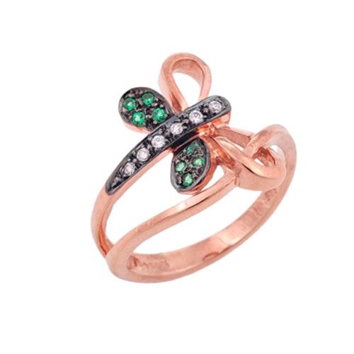 Δαχτυλίδι Λιβελούλα σε Ροζ Χρυσό με Ζιργκόν