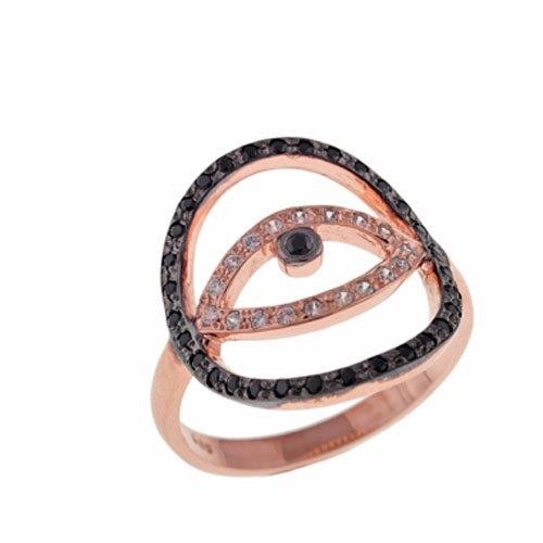 Δαχτυλίδι Μάτι σε Ροζ Χρυσό με Ζιργκόν