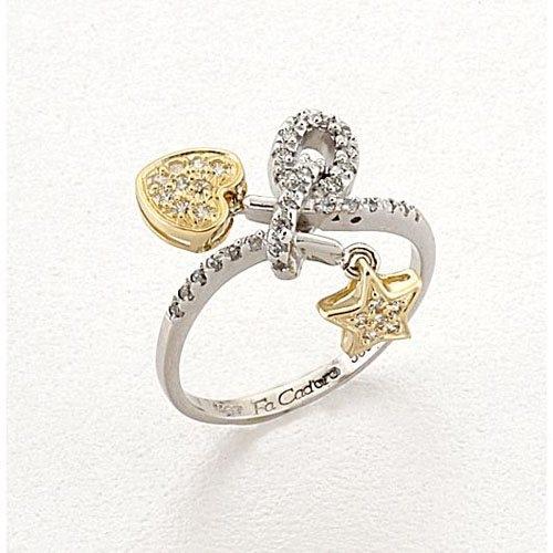 Δαχτυλίδι με Κρεμαστή Καρδιά και Αστεράκι σε Δίχρωμο Χρυσό με Ζιργκόν Signity