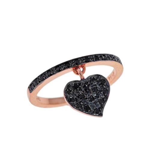 Δαχτυλίδι με Κρεμαστή Καρδιά σε Ροζ Χρυσό με Ζιργκόν