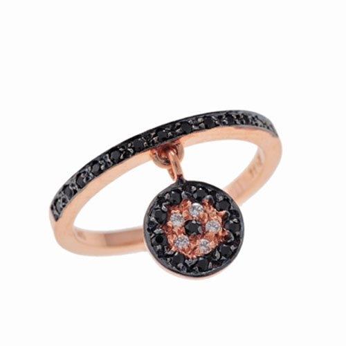 Δαχτυλίδι με Κρεμαστό Κύκλο σε Ροζ Χρυσό με Ζιργκόν