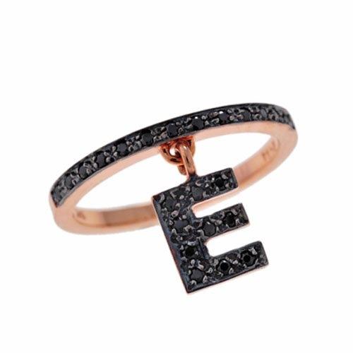 Δαχτυλίδι με Κρεμαστό Μονόγραμμα Ε σε Ροζ Χρυσό με Ζιργκόν