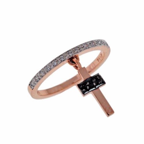 Δαχτυλίδι με Κρεμαστό Σταυρό σε Ροζ Χρυσό με Ζιργκόν