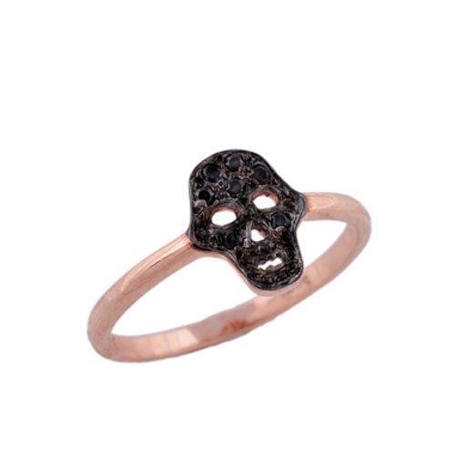 Δαχτυλίδι Νεκροκεφαλή σε Ροζ Χρυσό με Ζιργκόν