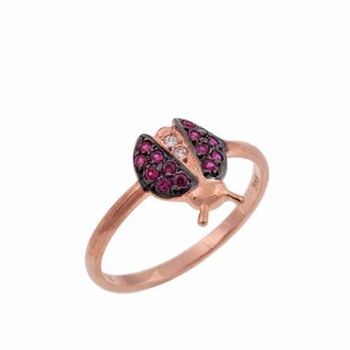 Δαχτυλίδι Πασχαλίτσα σε Ροζ Χρυσό με Ζιργκόν