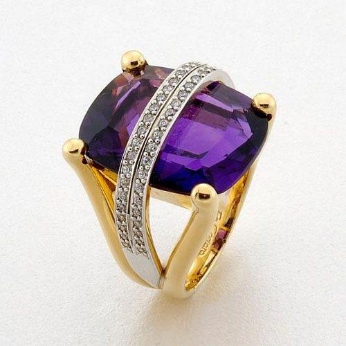 Δαχτυλίδι σε Δίχρωμο Χρυσό με Αμέθυστο και Ζιργκόν Signity