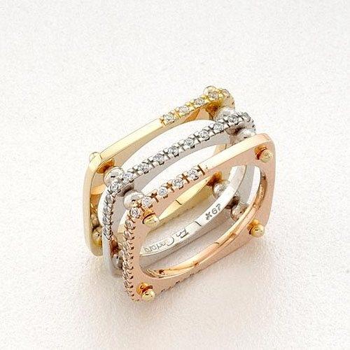 Δαχτυλίδι σε Τρίχρωμο Χρυσό με Ζιργκόν Signity