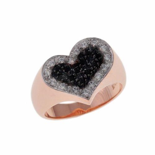 Δαχτυλίδι Σεβαλιέ Καρδιά σε Ροζ Χρυσό με Ζιργκόν