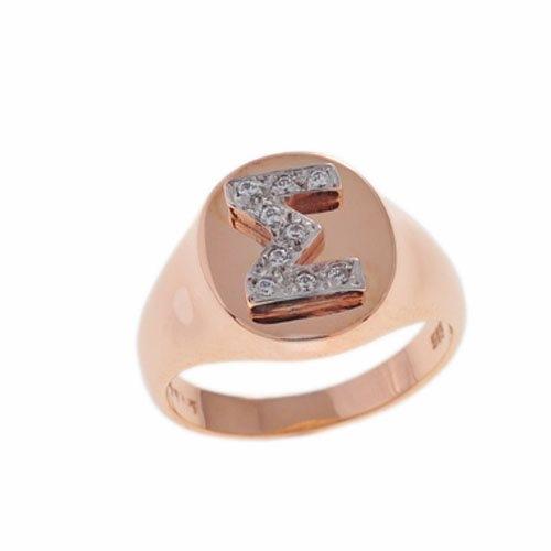 Δαχτυλίδι Σεβαλιέ με Μονόγραμμα σε Ροζ Χρυσό και Ζιργκόν