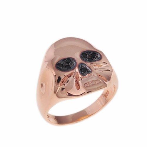 Δαχτυλίδι Σεβαλιέ Νεκροκεφαλή σε Ροζ Χρυσό με Ζιργκόν