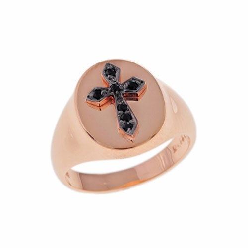 Δαχτυλίδι Σεβαλιέ Σταυρός σε Ροζ Χρυσό με Ζιργκόν
