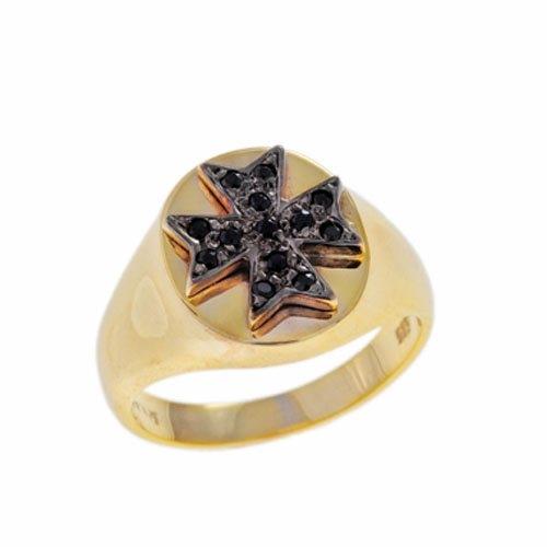 Δαχτυλίδι Σεβαλιέ Σταυρός σε Χρυσό με Ζιργκόν