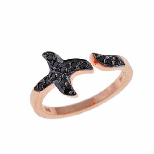 Δαχτυλίδι Σταυρός σε Ροζ Χρυσό με Ζιργκόν