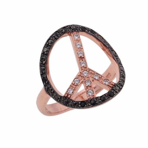 Δαχτυλίδι Σύμβολο Ειρήνης σε Ροζ Χρυσό με Ζιργκόν
