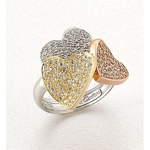Δαχτυλίδι Τριπλή Καρδιά σε Τρίχρωμο Χρυσό με Ζιργκόν Signity