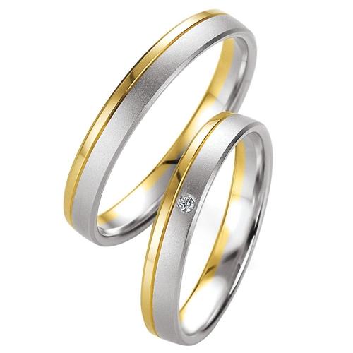 Δίχρωμες Βέρες Γάμου με Διαμάντι