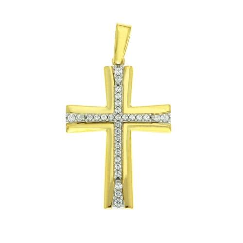 Δίχρωμος Χρυσός Βαπτιστικός Σταυρός με Ζιργκόν