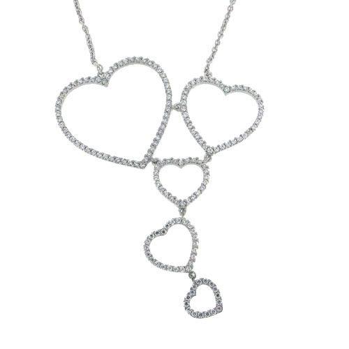Κολιέ με Καρδιές Λευκόχρυσο και Ζιργκόν Signity