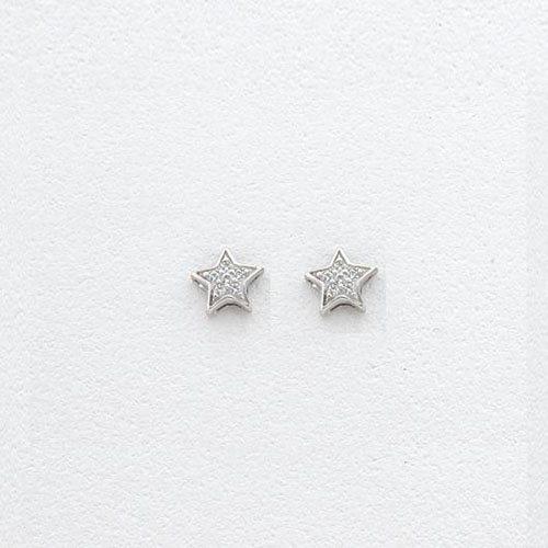 Λευκόχρυσα Σκουλαρίκια Αστέρια με Ζιργκόν Signity