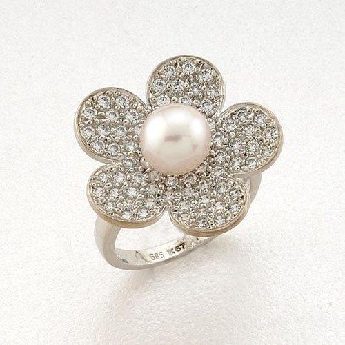 Λευκόχρυσο Δαχτυλίδι Λουλούδι με Μαργαριτάρι και Ζιργκόν Signity