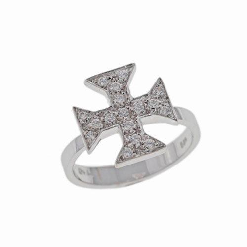 Λευκόχρυσο Δαχτυλίδι Σταυρός με Ζιργκόν