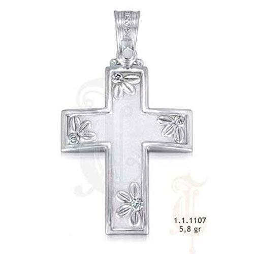 Λευκόχρυσος Βαπτιστικός Σταυρός με Ζιργκόν