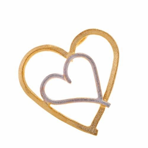 Μενταγιόν Καρδιές σε Δίχρωμο Χρυσό
