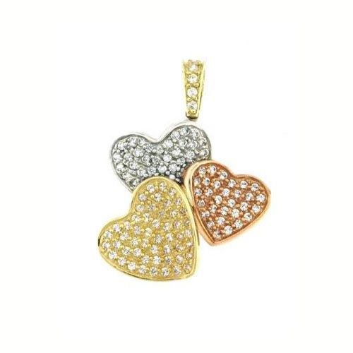 Μενταγιόν Καρδιές σε Τρίχρωμο Χρυσό και Ζιργκόν Signity