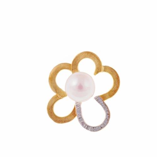 Μενταγιόν Λουλούδι σε Δίχρωμο Χρυσό με Μαργαριτάρι Γλυκού Νερού