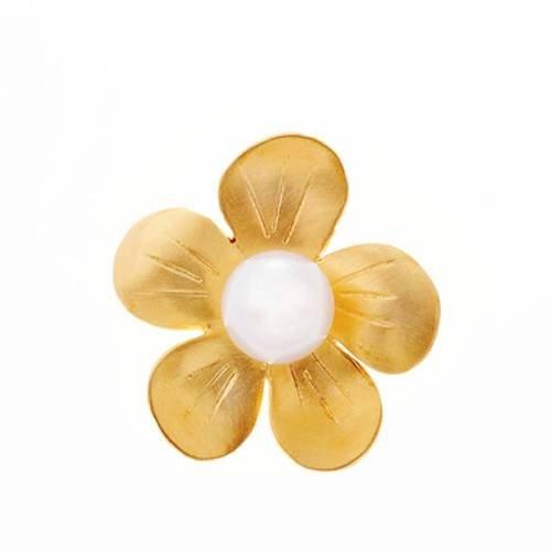 Μενταγιόν Λουλούδι σε Χρυσό με Μαργαριτάρι