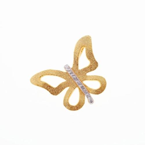 Μενταγιόν Πεταλούδα σε Δίχρωμο Χρυσό