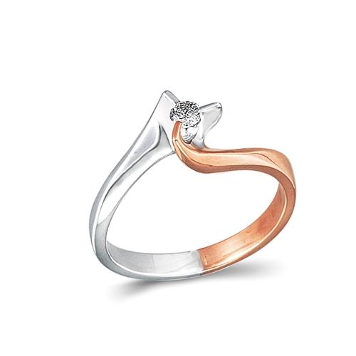 Μονόπετρο Δαχτυλίδι σε Δίχρωμο Χρυσό και Μπριγιάν