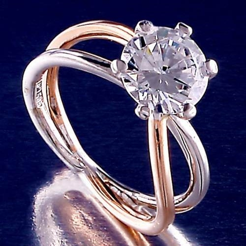 Μονόπετρο Δαχτυλίδι σε Δίχρωμο Χρυσό με Ζιργκόν