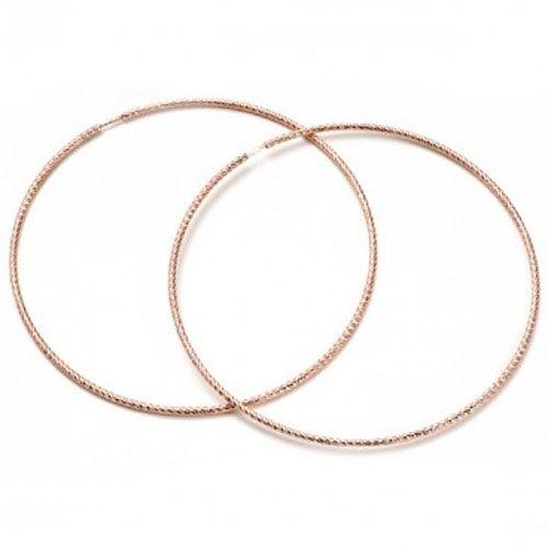 Σκουλαρίκια Κρίκοι σε Ροζ Επιχρυσωμένο Ασήμι
