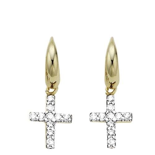 Σκουλαρίκια σε Δίχρωμο Ασήμι με Ζιργκόν