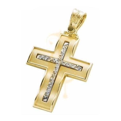 Σταυρός Χρυσός με Ζιργκόν Swarovski