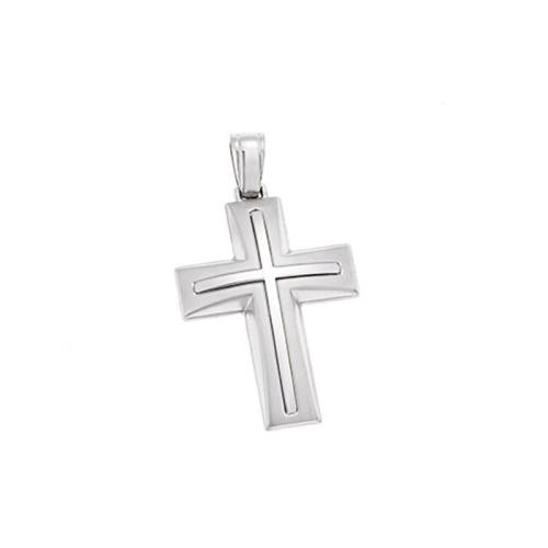 Βαπτιστικός Σταυρός Λευκόχρυσος σε Απλή Γραμμή