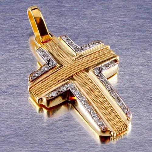 Βαπτιστικός Σταυρός Πλεχτός με Σύρμα σε Δίχρωμο Χρυσό
