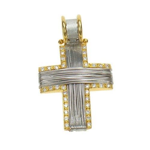 Βαπτιστικός Σταυρός Πλεχτός με Σύρμα σε Δίχρωμο Χρυσό με Ζιργκόν Swarovski