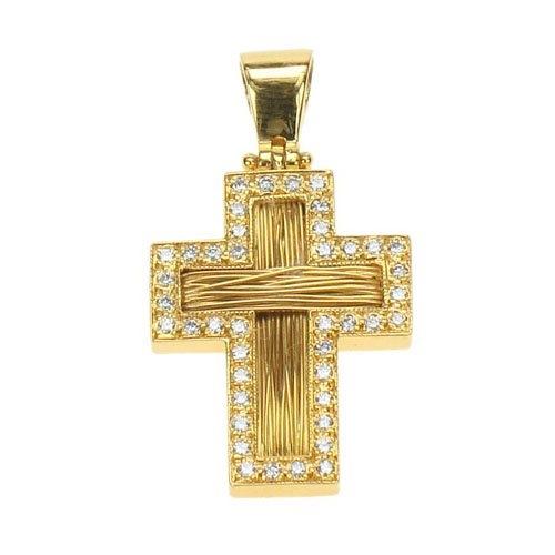 Βαπτιστικός Σταυρός Πλεχτός με Σύρμα σε Χρυσό και Ζιργκόν Swarovski