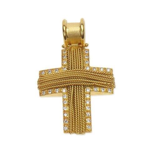 Βαπτιστικός Σταυρός Πλεχτός σε Χρυσό με Σύρμα και Ζιργκόν