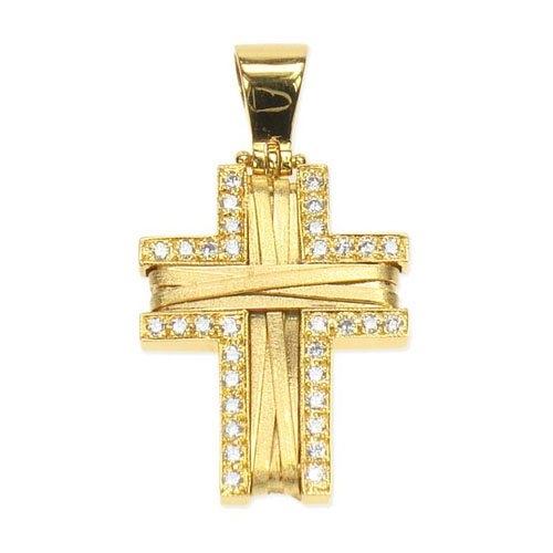 Βαπτιστικός Σταυρός Πλεχτός σε Χρυσό με Ζιργκόν