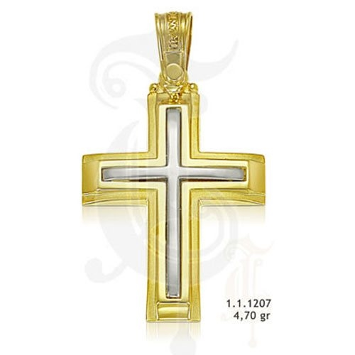 Βαπτιστικός Σταυρός σε Δίχρωμο Χρυσό