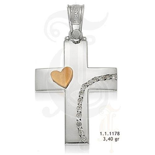 Βαπτιστικός Σταυρός σε Δίχρωμο Χρυσό με Ζιργκόν