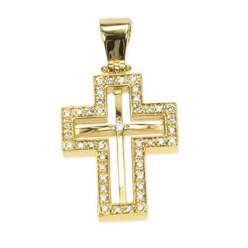 Βαπτιστικός Σταυρός σε Χρυσό με Ζιργκόν