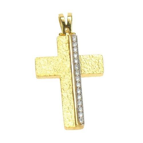 Βαπτιστικός Σταυρός σε Χρυσό με Ζιργκόν Swarovski